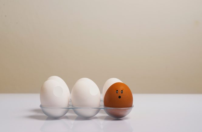 six white eggs and one brown