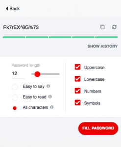 screenshot of password generated with LastPass