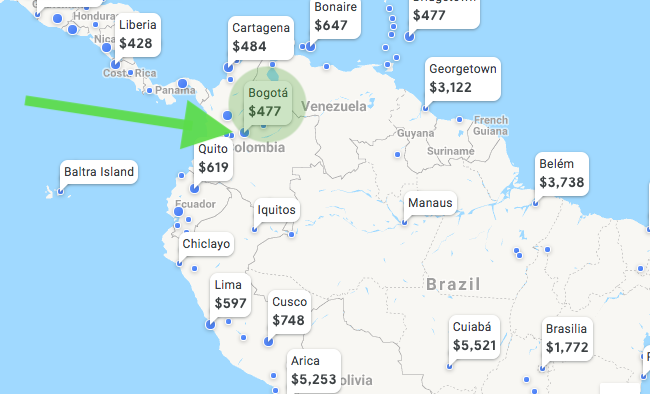 Google Flights Screenshot of the cost of flights in Northern South America