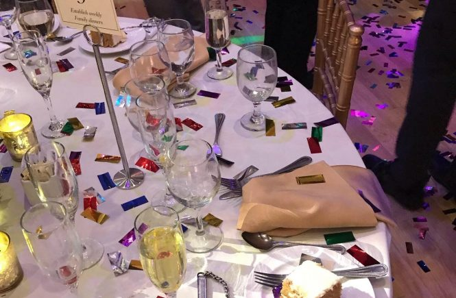 table covered in glasses and confetti